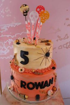Don't miss this creepy Halloween party! Love the cake! See more party ideas and share yours at CatchMyParty.com