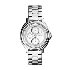 Chelsey Multifunction Stainless Steel Watch - Reflecting the iconic, spirited feeling of the season, this cool Chelsey multifunction features an eye-catching mirrored dial with a polished trim and glitz-accented concave ring of 62 clear stones at Fossil. Used Watches, Cool Watches, Stainless Steel Watch, Stainless Steel Bracelet, Fossil Jacqueline, Fossil Watches, Dose, Metal Bracelets, Luxury Watches