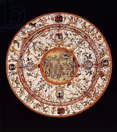 Grotesque decorated plate, ceramic, Urbino manufacture, Marche, Italy, 16th century