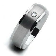 Matte Finish CZ Diamond Beveled Mens Tungsten Ring Wedding Band 8mm, $329.98