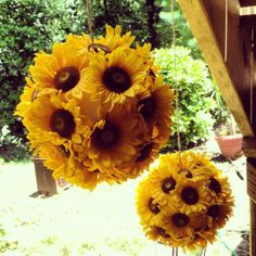 Sunflower ball: You will need - String, small hook, foam ball, fake flowers