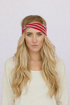 Striped+Turband+Headband+Red+Turban+Twist+by+ThreeBirdNest+on+Etsy,+$8.99