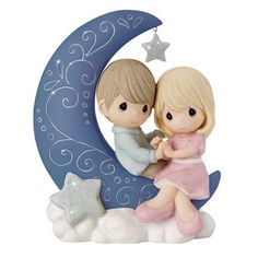 Precious Moments I Love You To The Moon And Back - Ria's Hallmark & Jewelry Boutique Precious Moments Quotes, Precious Moments Figurines, Beautiful Family, Biscuit, Shining Star, My Precious, True Love, Sparkles, I Love You