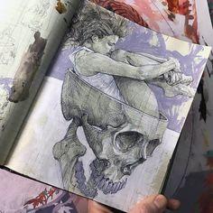 Scott M Fischer, acrylic ink and pen, unknown, Inspiration Art, Sketchbook Inspiration, Art Inspo, Art Drawings Sketches, Cool Drawings, Skull Drawings, Pretty Art, Cute Art, Arte Gcse