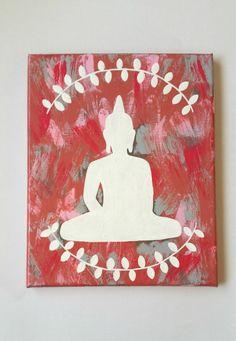 Hippie Bohemian zen buddha acrylic canvas painting by StarrJoy16