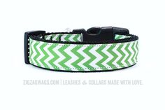 """The Grass Green Collar works for every season. It's a bright, fresh color for spring and summer, and looks great during the holidays too! It's is available in two widths – 1"""" for larger dogs, and 3/8"""" for small and toy breeds."""