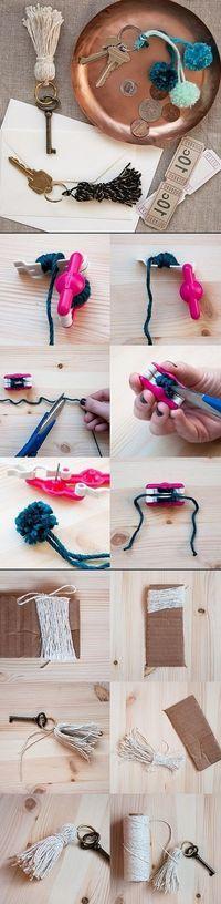 DIY Mini Pom Pom Key Rings