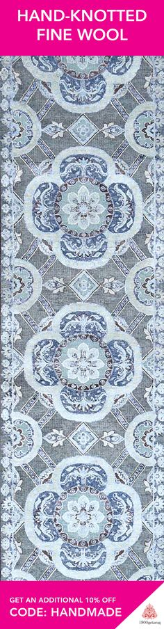 Give your home a little contemporary touch with this wonderful oriental patterned rug. Handcrafted by professional weavers in India using fine wool and silk.