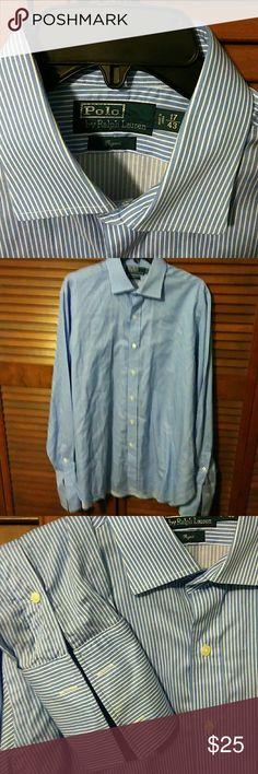 """Polo by Ralph Lauren""  button down shirt Blue/white striped shirt , Regent style, this shirt does ""require cufflinks"" , 17'/43' 100% cotton ., NWOT Polo by Ralph Lauren Shirts Dress Shirts"