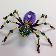 Beaded Christmas Spider  Mardi Gras colors by FreshPaths on Etsy