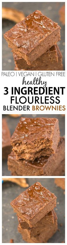 Healthy 3 Ingredient Flourless Blender brownies- SO quick and easy and made with NO butter, oil, flour or sugar- Delicious! {vegan, gluten free, paleo recipe}- thebigmansworld.com