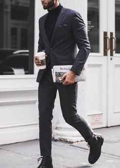 Black suit, Turtle neck with a cup of Starbucks and New York Times. All Black Suit, Formal Attire For Men, Turtle Neck Men, Turtleneck Outfit, Designer Suits For Men, Suit Up, Mens Suits, Stone Bracelet, Beaded Bracelet