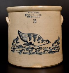 5 Gal. NEW YORK STONEWARE CO. Crock w/ Unusual Pecking Chicken and Chicks Decoration