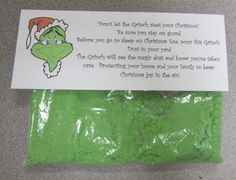 Grinch Dust - great alternative to Reindeer Food! :) I am going to have to do this with my class after reading the Grinch! I think I will still do both, reindeer food and the Grinch Dust Grinch Party, Le Grinch, Grinch Christmas Party, Preschool Christmas, Noel Christmas, Christmas Activities, Christmas Traditions, Winter Christmas, All Things Christmas