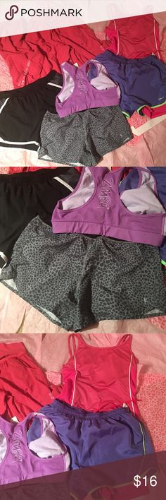 Women's size medium workout bundle Women's Zumba pants and sports bra. 3 athletic shorts and 1 athletic top. Great bundle for those ladies who love working out.               C871 zumba Pants Track Pants & Joggers