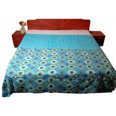 Suzani Print Floral And Spiral Designer Kantha Stitched Handmade Cotton Quilt / Gudari http://radhikatextile.com/vintage-section/vintage-gudris.html