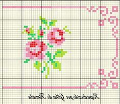 simple roses with a nice border frame Cross Stitch Boarders, Mini Cross Stitch, Beaded Cross Stitch, Cross Stitch Rose, Cross Stitch Flowers, Cross Stitching, Cross Stitch Embroidery, Modern Cross Stitch Patterns, Minis