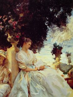 """""""In a Garden""""  --  1909  --  John Singer Sargent  --  American  --  Oil on canvas  --  No further reference provided."""