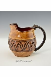 Small  Pitcher/Gravy Boat Golden Brown with Double Palm Band