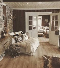 Rustic Home by - Architecture and Home Decor - Bedroom - Bathroom - Kitchen And Living Room Interior Design Decorating Ideas - Farmhouse Master Bedroom, House Design, Interior, Home, Cabin Interiors, House Interior, Rustic Living Room, Interior Design, Rustic House