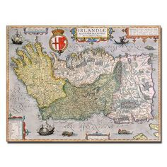 """Trademark Art """"Map of Ireland"""" Graphic Art on Canvas Size: Artist Canvas, Canvas Art, Canvas Prints, Canvas Size, Global Map, Thing 1, Map Art, Giclee Print, Print Map"""