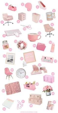 The cutest pink office decor picks for any pink girl boss desk. Create a feminin. - 1001 Stories - The cutest pink office decor picks for any pink girl boss desk. Create a feminine workspace that is - Work Desk Decor, Pink Office Decor, Study Room Decor, Cute Room Decor, Feminine Office Decor, Pink Gold Office, Rose Gold Room Decor, Gold Bedroom Decor, Bedroom Sets