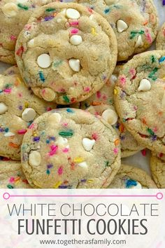 White Chocolate Funfetti Pudding Cookies - Together as Family Best Sugar Cookie Recipe, Cake Mix Cookie Recipes, Best Cookie Recipes, Dessert Recipes, Cookie Recipe With Pudding, Bisquick Cookies Recipe, Cookie Batter Recipe, Recipes Dinner, Pasta Recipes