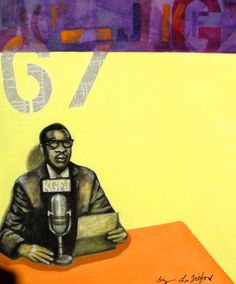 """67"" (Back in the day, KGFJ). Mixed Media on Canvas Board. Bryan Lee Tilford"