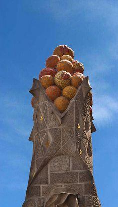 Tower Detail. La Sagrada Familia. Antoni Gaudi. Barcelona, Spain. Gaudi started work on the project in 1883. Building still under construction. (Est. completion 2026).