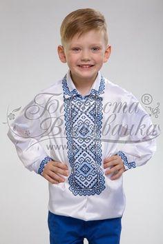 Атласная белая детская вышиванка СД-002Б