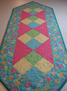 Easter Quilted Table Runner, Easter Egg Quilted Table Mat, Pastel Patchwork Spring Table Runner, Quiltsy Handmade by VillageQuilts on Etsy
