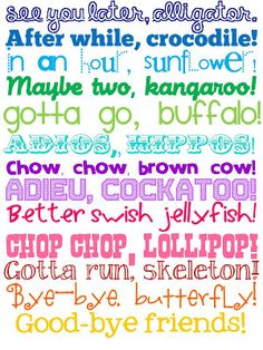 See You Later Alligator posted by Shannon...I love the See You Later Alligator poem so I created  a printable sign to hang by my door.