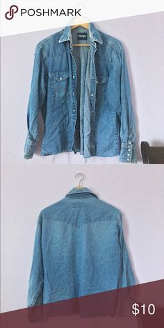 e807d1bae4a597 Distressed Denim shirt Denim button up Tops Button Down Shirts Denim Button  Up