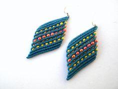 Macrame earrings. Blue earrings. Tribal earrings. Hippie earrings for summer