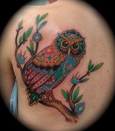 Rainbow owl done by Josh Carter