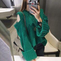 "Use coupon ""PIN10"" to get 10% off KNITTING PULLOVER OPEN SHOULDERS  #grunge #apparel #store #cute #korean #style #FreeShipping #Worldwide #print #ulzzang #southkorean #koreanfashion #fashion #trendy #kawaii #harajuku #aesthetic #aesthetics #japanese #tumblr #clothing #outfit"