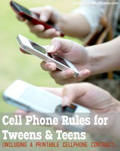 Looking for some awesome ideas on how to handle the cell phone use at your house? Need tips for setting boundaries and outlining expectations? This free printable contract will help you and your child safely navigate the way to be a responsible phone user.  Cell Phone Rules For Tweens and Teens