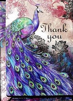 pUNCH sTUDIO Set 12 Gold Foil Thank You Note Cards ~ Purple Aiguillerie Peacock