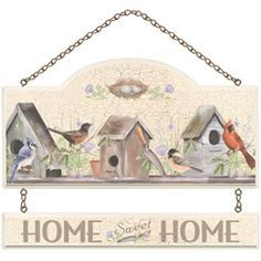 Songbirds and Birdhouses Welcome Wall Plaque