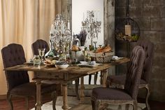 This dining room exudes the perfect balance between beautiful femininity and rustic nonchalance. It's simply styled with Farmhouse Glam.     Find out what type of home decor personality you have by taking our Stylescope quiz. Click here!