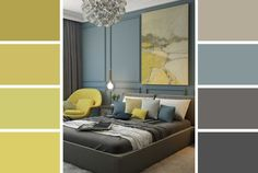 Grey and Yellow Bedroom by Alina Vagapova – Hutsly. Uplifting and energising, a grey and yellow living room or bedroom is exactly what the doctor ordered this Spring! We give you decorating tips and ideas to make it work!