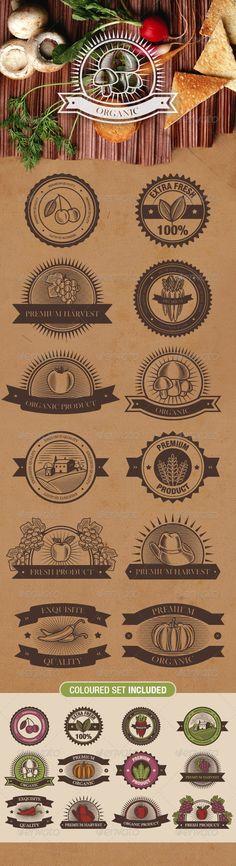 Planche d'exemples de logos pour produits bio, dans un esprit rétro.