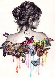 Butterfly art via www.Facebook.com/WildWickedWomen