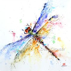 DRAGONFLY Watercolor Print by Dean Crouser by DeanCrouserArt