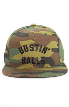 Hall of Fame, Bustin Balls Snap-Back Hat - Camo