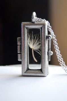 Dandelion Necklace Rectangular Dandelion Seed by paperfacestudio, $32.00