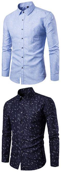 US$19.28#Slim Fit Long Sleeve Printing Single Chest Pocket Button Up Designer Shirt for Men
