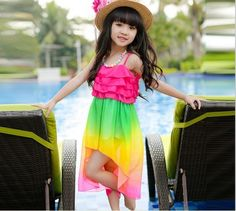 PInkBlue India Classic Designer Rainbow Summer Party Dress for Baby Girls #RainBowStyle #KidsFashion