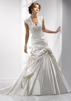 A-line High Neck V-neck Chapel Train in Satin Lace Wedding Dress