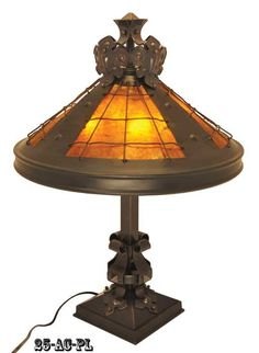 Vintage Hardware & Lighting - Large Arts and Crafts Table Lamp with Mica Shade  (25-AC-PL)